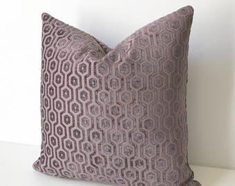Purple chenille geometric pillow, velvet dots decorative pillow cover