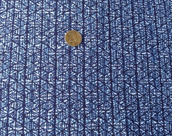 "Japanese kimono indigo blue cotton yukata fabric  geometrics  92 cm x 36 cm (36"" x 14"")"