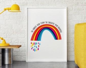 Bright Rainbow Print   Quote Print   A4   A3   8x10   5x7   Wall Art
