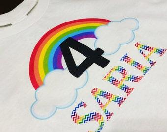 Rainbow birthday shirt, personalized tainbow birthday shirt, rainbow birthday, rainbow birthday theme, rainbow t-shirt