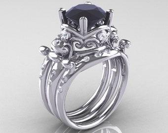 Modern Vintage 14K White Gold 3.0 Ct Black and White Diamond Trio Wedding Ring Set R167S3-14KWGDBD