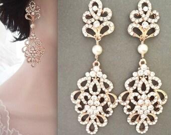 Gold pearl earrings, Crystal earrings, Gold chandelier earrings, Brides earrings, Gold wedding earrings, Swarovski pearl earrings, MEG
