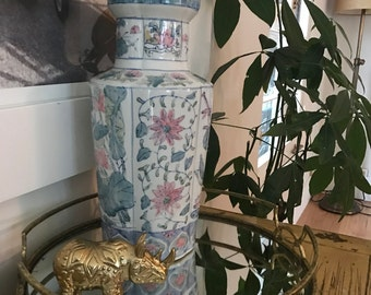 Pink and Blue Large Chinoiserie Vase