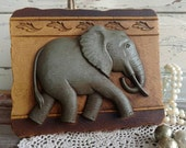 Retro Elephant Wall Art - Vintage Safari Wall Hanging + Home Decor, Gift for the Elephant Lover, Collecting Elephants, Sun Room Decoration