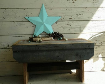 Prim Barnwood Handmade Rustic Bench - Handmade Vintage + Rustic Wooden Bench or Child's Stool, Home Decor, Repurposed Barnwood Furniture