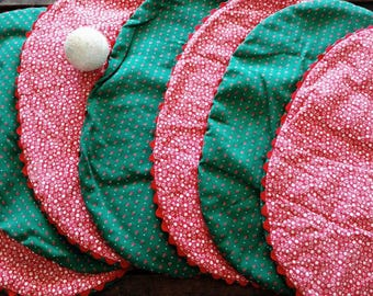 Retro Christmas Calico Place Mats - Vintage Kitsch Holiday Decor, Home Decor, Reversible 7 Holiday Red + Green + White Calico Table Linens