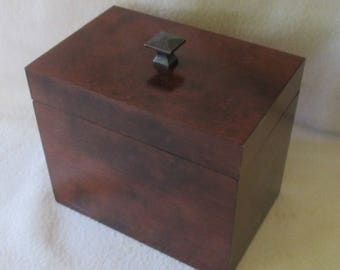 Red Mahogany Note or Recipe Box- 5 X 7 Wooden Note Box - Storage Box  - Note Keeper -  Keepsake Box - Gift