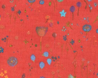 Nani Iro brushed cotton, Sen Ritsu Viera, turquoise floral on tomato red, by the yard.