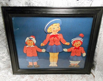 Vintage Cardboard Paper Dolls Framed Raggedy Ann and Andy Plus Marcella