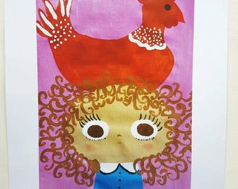 A4 Print Girl with Chicken on Top of Head