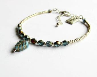 Blue and Gold Leaf Charm Bracelet, Glass Beaded Bracelet, Layering Bracelet, Boho Jewelry, Skinny Bracelet, Adjustable Stacking Bracelet