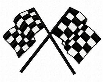 Racing Flags  Machine Embroidery Design - Instant Download