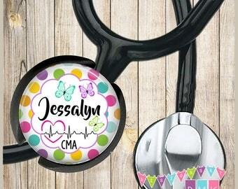 Personalized - Spring Butterflies - EKG - Multi Polka Dots - Stethoscope ID Name Tag - Fits STANDARD Size Tubing