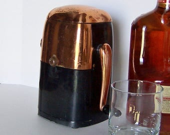 Ice Crusher Mid Century Barware Accessory in Black and Copper, Ice-O-Mat from the 1960's, Man Cave Bar Decor