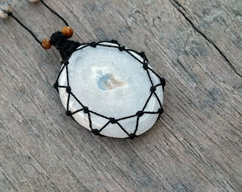 Gifts under 50, Solar Quartz black necklace for her, White Crystal pendant, Short beaded necklace, Bohemian jewelry for women, FREE SHIPPING