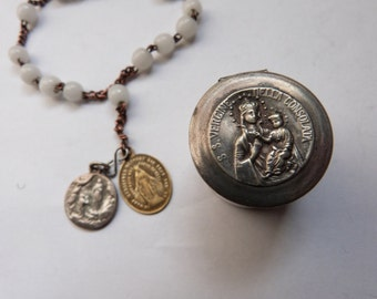Antique French religious first communion beaded bracelet w milk glass beads w miraculous saint virgin Mary medal in box w Madonna and child