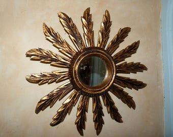 Starburst mirror Sunburst mirror antique French gilded wooden sun burst wall mirror star burst wood mirror w chic French home decor design