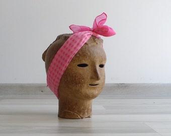 Vintage 60's Barbie Pink Gingham Plaid Sheer Scarf