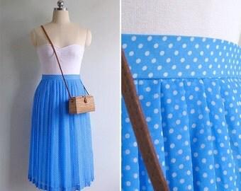 15% V-DAY WEEK Sale - Vintage 80's Sky Blue Kitschy White Polka Dot Skirt Xs