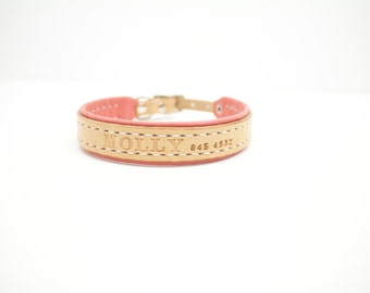 Small Lined Leather Dog Collar with Name and Phone Number