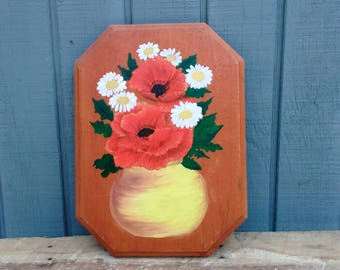 Handpainted Flower Picture - Flowers in a Vase - Artwork - Wall Decor - Cottage Artwork