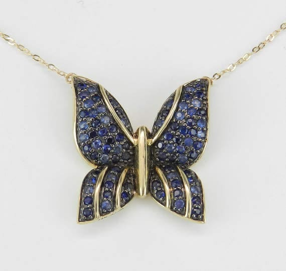 """Sapphire Butterfly Necklace 14K Yellow Gold Pendant 17"""" Chain Something Blue"""