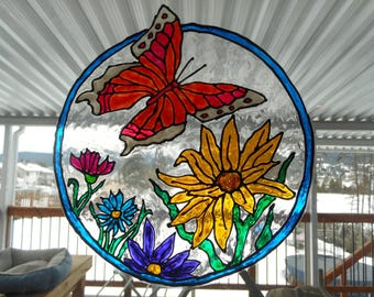 Butterfly    Delight  Specialzied Window Cling Art x 9x10 round