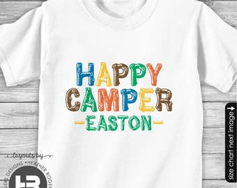 Happy Camper Shirt or Bodysuit - Personalized Camp Shirt for Boys - Summer Camp Shirt Monogrammed - Camp Birthday Shirt