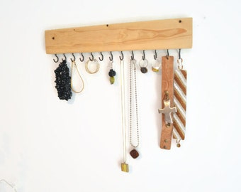 Jewelry Organizer wall - Jewelry Holder - Necklace Holder - Pick your Stain Color - 14""