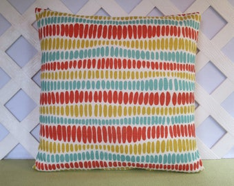 Oval Shapes Pillow Cover in Orange Aqua Gold Ivory / Geometric Pillow / Orange Aqua Pillow / Accent Pillow / 18 x 18 Pillow