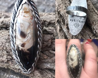 Petrified palm wood ring, Indonesian palm ring, sterling silver petrified wood ring, resilient