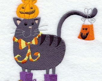Purr-fectly Poised Pumpkin Cat Embroidered on Kona Cotton Quilt Block // Plain Weave Cotton Dish Towel // Also Available on Other Items