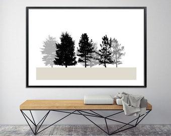 Large Canvas Print, urban Scandinavian art Giclee Print 40X60 tree print minimalist modern poster, black and white office decor by Duealberi