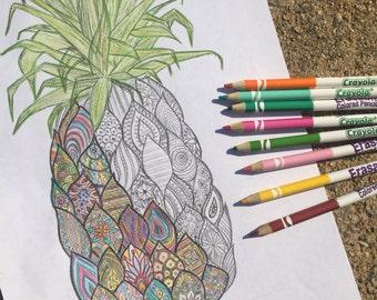 Zentangle Pineapple Coloring Sheet Digital Print Adult Coloring Book, Pineapple Art Print