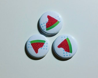 Watermelon 1 inch pinback button set of 3