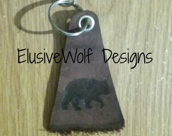 Leather Black Bear Key Chain- Bear Key Chain - Branded Bear Key Chain - Bear Key Ring- Elusive Wolf
