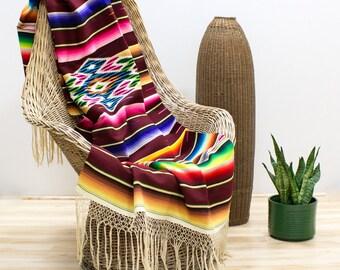 Mexican Serape Saltillo Blanket, Southwestern Vintage Textiles