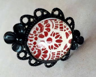 Red Lace ring and earings