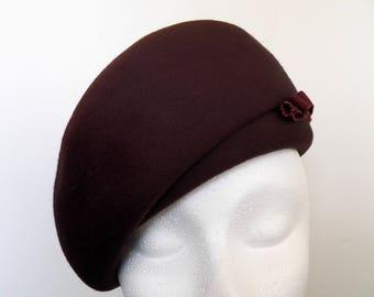 Vintage Beret Brown Felt Hat - Ladies Hat - Melange Felt Hat - Starfire Wool Hat - Accessory - Millinery Tulle Couture  1950's Apparel