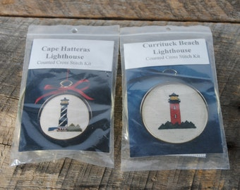 Two Vintage Lighthouse Cross Stitch Ornament Kits with Frames 1995
