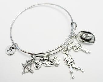 Walking Dead Charm Bracelet, bracelet breloque en argent, cadeau personnalisé, initiale, Zombie, initiale, marche mort bijoux, cadeau moins de 20