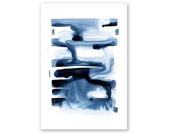 Indigo Abstract no. 1 Watercolor Giclee Fine Art Print Poster of Original Painting - Framed option available