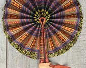 African Goat Leather and Wax Print FAN Handmade Mali TRIBAL Belly Dance Stage Prop Uber Kuchi®