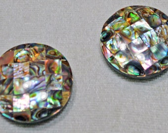 Large Round Abalone Mother of Pearl MOP Beads Lot of 2 Jewelry Making Costume Supply Uber Kuchi®