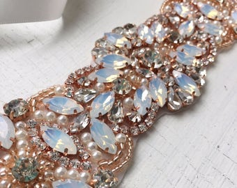 Vivoli | Rosegold Bridal Sash, Copper and Opal Rhinestone Bridal belt, Wedding Accessories, rose gold and pearls
