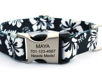 HAWAIIAN Polyester Webbing Dog Collar with Laser Engraved Personalized Buckle - BLACK