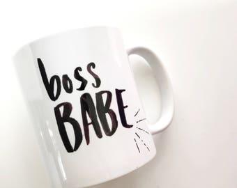 boss babe, mug, watercolor, hand lettered ceramic mug