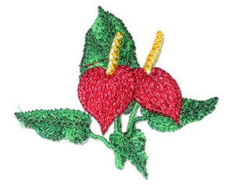 Iron On Patch Applique - Tropical Flower Anthurium