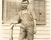 "Vintage Snapshot ""Proud Fisherman"" Handsome Young Man Fishing End Of The Roll Of Film Found Vernacular Photo"