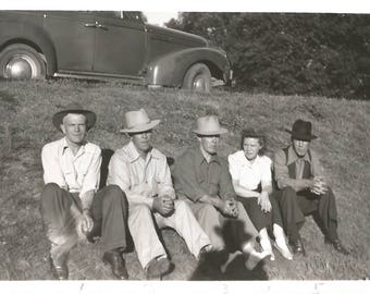 "Vintage Snapshot ""On The Verge"" Roadside Group Men Fedora Hats Vintage Car Black & White Found Vernacular Photo"